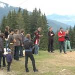 Eröffnung des cut.enoid.towers mit Vertretern der Gemeinde, Agrar, Serlesbahnen, beteiligten Firmen und StudentInnen